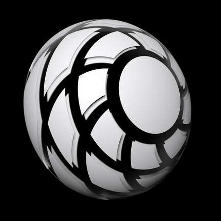 Spiral hemisphere white colored on black background - 3D rendered illustration