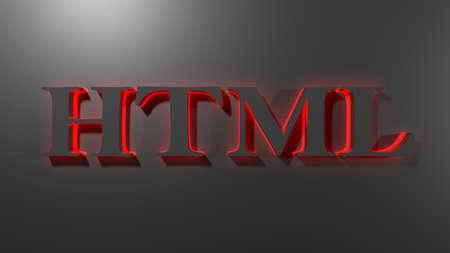 HTML with red backlight on black background - 3D rendering illustration Standard-Bild
