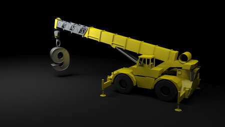 Yellow crane rising number 9, on black background - 3D rendering illlustration