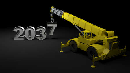 2038 being built with a crane - 3D rendering illustration