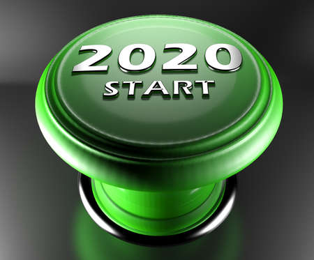 2020 START green push button on black background - 3D rendering illustration Standard-Bild