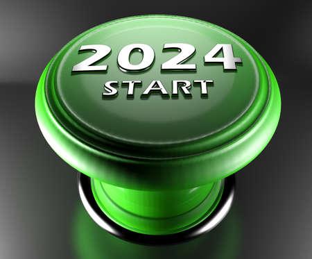 2024 START green push button on black background - 3D rendering illustration