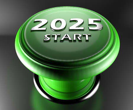 2025 START green push button on black background - 3D rendering illustration