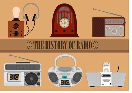 Radio throught the time 矢量图片