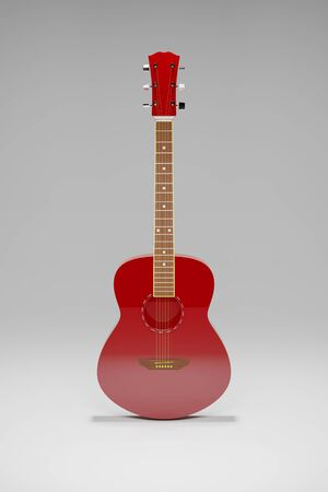 Upright red acoustic guitar