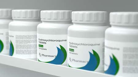Facsimile Hydroxychloroquine Bottle On Shelf 3d Illustration