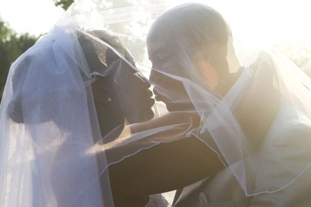 african women: Bridal Couple on their summer wedding day