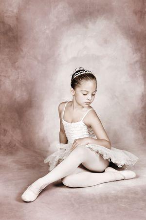 Young dancer wearing a tutu and tiara Stock Photo