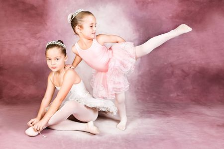 duet: Young dancer wearing a tutu and tiara Stock Photo