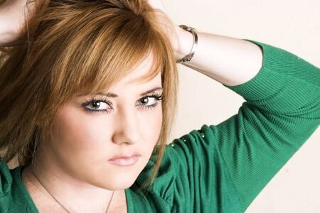 fedup: Beautiful young model with striking green eyes