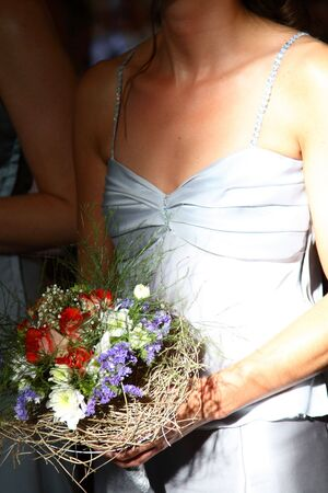 flowergirl: Wedding Bouquet with red roses and purple flowers