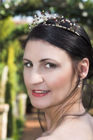 beaded: Beautiful Brunette bride with a beaded tiara