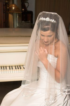 Beautiful brunette bride wearing a diamond tiara photo