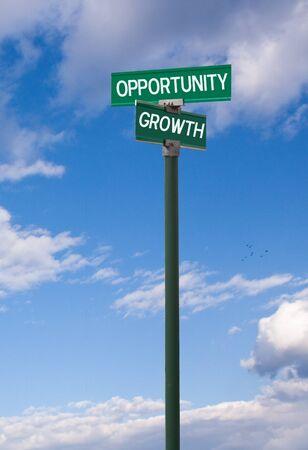 persoonlijke groei: Het snijpunt van kansen persoonlijke groei straatnaambord