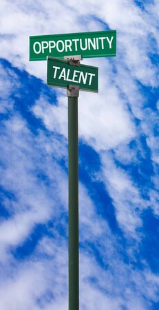 The intersection of opportunity   talent street sign photo