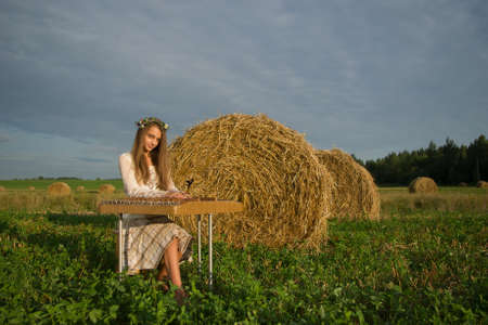 Teenage girl playing on cymbalo on the field with sheafs Stock Photo - 10674723