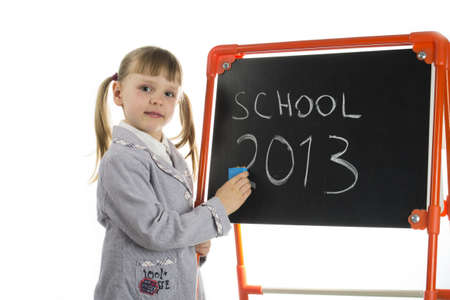 Little preschool pointing at dashboard Stock Photo - 16824615