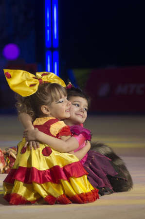 Alexeeva Ksenia and Saleiko Sofia from Baranovichi at BabyCup 2012 rhythmic gymnastics competition
