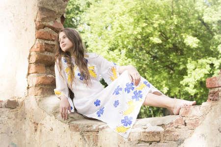 teenage girl dress: beatifull teenage girl in authentic vintage dress at old ruins