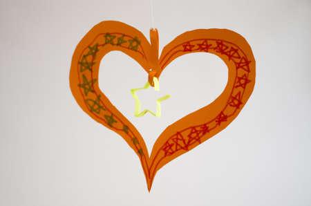 artifact: child handmade from papaer heart artifact Stock Photo