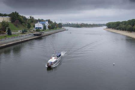 waterbus: Water-bus at river Sozh in Gomel, Belarus in autumn fall