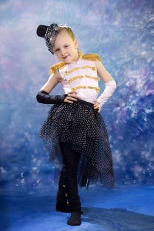 young little girl in dance costume cosplay fun