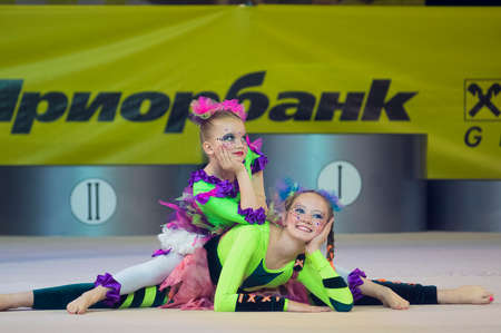 MINSK  MAY 24: Unidentified children compete in the MaugliCUP international competition in gymnastics on May 24 2015 in Minsk Belarus.