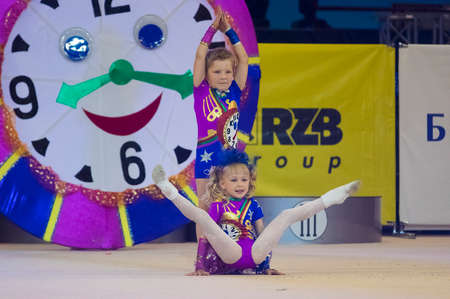 MINSK - MAY 24: Unidentified children compete in the Maugli-CUP international competition in gymnastics on May 24, 2015, in Minsk, Belarus.