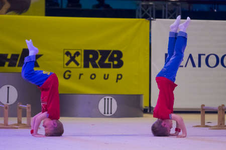 dance preteen: MINSK - MAY 24: Unidentified children compete in the Maugli-CUP international competition in gymnastics on May 24, 2015, in Minsk, Belarus. Editorial