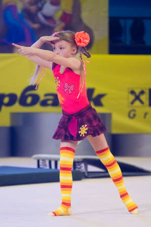 dance preteen: MINSK  MAY 24: Unidentified children compete in the MaugliCUP international competition in gymnastics on May 24 2015 in Minsk Belarus.