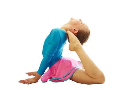 gymnastics silhouette: young smiling preteen girl doing gymnastics stretching  exercises on white background isolated