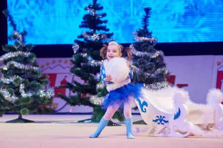 dance preteen: MINSK, BELARUS DECEMBER 05: unidentified gymnast from  USiT participate with Winter miracle  in Baby Cup - BSB Bank childrens competitions in gymnastics , 05 December 2015 in Minsk, Belarus.