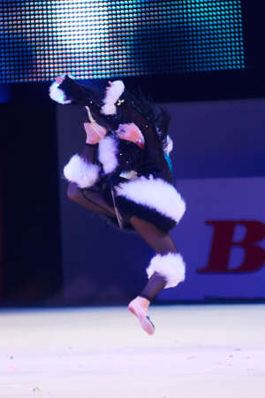 dance preteen: MINSK, BELARUS DECEMBER 05: Guscha Ilariya from trade union sports School participate with Magpie  in Baby Cup - BSB Bank childrens competitions in gymnastics , 05 December 2015 in Minsk, Belarus. Editorial
