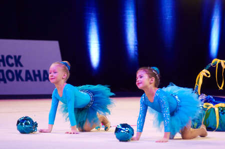 dance preteen: MINSK, BELARUS DECEMBER 05: unidentified gymnast from  Smolevichy participate with Naughty caramel  in Baby Cup - BSB Bank childrens competitions in gymnastics , 05 December 2015 in Minsk, Belarus. Editorial