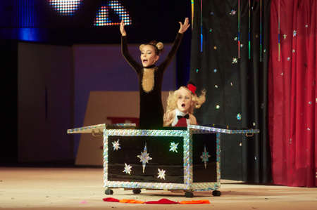 grand kid: MINSK, BELARUS DECEMBER 05: unidentified gymnast from  USiT participate with Magic Surprise  in Baby Cup - BSB Bank childrens competitions in gymnastics , 05 December 2015 in Minsk, Belarus.