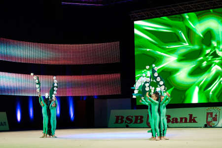 dance preteen: MINSK, BELARUS DECEMBER 05: unidentified gymnast from  Baranovichi participate with Lilies of the valley  in Baby Cup - BSB Bank childrens competitions in gymnastics , 05 December 2015 in Minsk, Belarus.