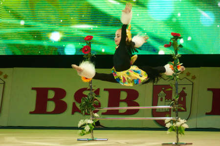 dance preteen: MINSK, BELARUS DECEMBER 05: Golubeva Yana from  Baranovichi participate with Young horse  in Baby Cup - BSB Bank childrens competitions in gymnastics , 05 December 2015 in Minsk, Belarus.