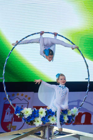 grand kid: MINSK, BELARUS DECEMBER 05: unidentified gymnast from trade union sports School participate with On the wings of the wind  in Baby Cup - BSB Bank childrens competitions in gymnastics , 05 December 2015 in Minsk, Belarus. Editorial