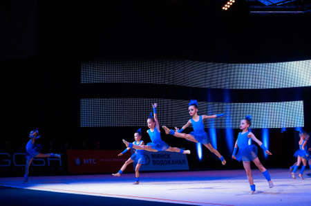 dance preteen: MINSK, BELARUS DECEMBER 05: unidentified gymnast from  Gomel participate with Cloudlet  in Baby Cup - BSB Bank childrens competitions in gymnastics , 05 December 2015 in Minsk, Belarus.