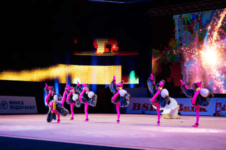 dance preteen: MINSK, BELARUS DECEMBER 05: unidentified gymnast from  Slutsk participate with Ostrich farm  in Baby Cup - BSB Bank childrens competitions in gymnastics , 05 December 2015 in Minsk, Belarus.