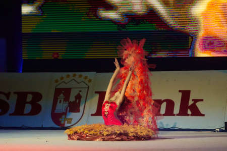 dance preteen: MINSK, BELARUS DECEMBER 05: Nehvyadovich Sofiya from trade union sports School participate with Phoenix  in Baby Cup - BSB Bank childrens competitions in gymnastics , 05 December 2015 in Minsk, Belarus.
