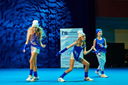 grand kids: MINSK, BELARUS NOVEMBER 28: unidentified dancers participate in a MegaDance international  childrens competitions in choreography , 28 November 2015 in Minsk, Belarus.