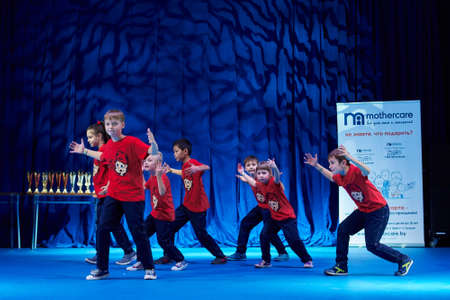 synchronous: MINSK, BELARUS NOVEMBER 28: unidentified dancers participate in a MegaDance international  childrens competitions in choreography , 28 November 2015 in Minsk, Belarus.