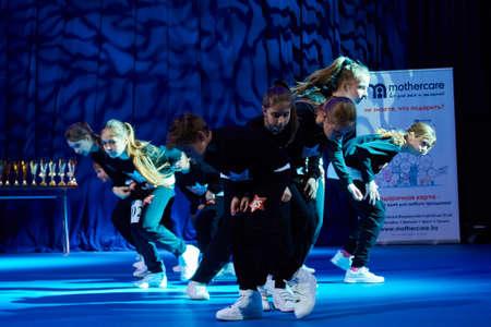 dance preteen: MINSK, BELARUS NOVEMBER 28: unidentified dancers participate in a MegaDance international  childrens competitions in choreography , 28 November 2015 in Minsk, Belarus.