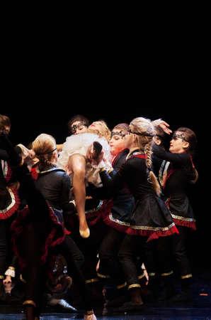 dance preteen: MINSK, BELARUS JANUARY 17: unidentified dancers from Kolibri dance theatre participate in joint concert , 17 January 2016 in Minsk, Belarus.