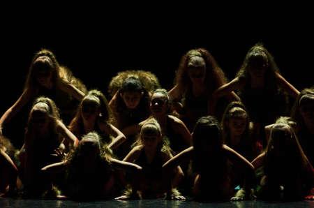 synchronous: MINSK, BELARUS JANUARY 17: unidentified dancers from Kolibri dance theatre participate in joint concert , 17 January 2016 in Minsk, Belarus.
