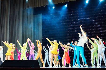 romantics: MINSK, BELARUS FEBRUARY 21: unidentified gymnast from  Romantics team  participate in jint circus show , 21 February 2016 in Minsk, Belarus. Editorial