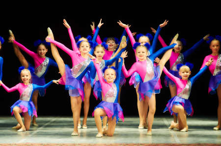 beat the competition: MINSK, BELARUS April 16: unidentified artists participate in Bravo, kids! children competition on choreography, 16 April 2016 in Minsk, Belarus.