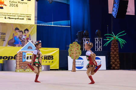 boy gymnast: MINSK, BELARUS MAY 29: children compete in international competitions on sport gymnastics Maugli cup. Palace of Sports, 29 May 2016 in Minsk, Belarus