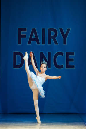 MINSK-BELARUS, OCTOBER 28: unidentified ballerina little girl dancer performs in The Fairy Dance International dance festival, on October 28, 2016 in Minsk, Republic of Belarus Editorial
